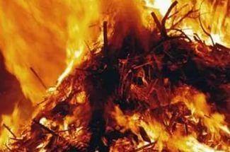 В Волгоградской области вместе с сеном сгорел мужчина