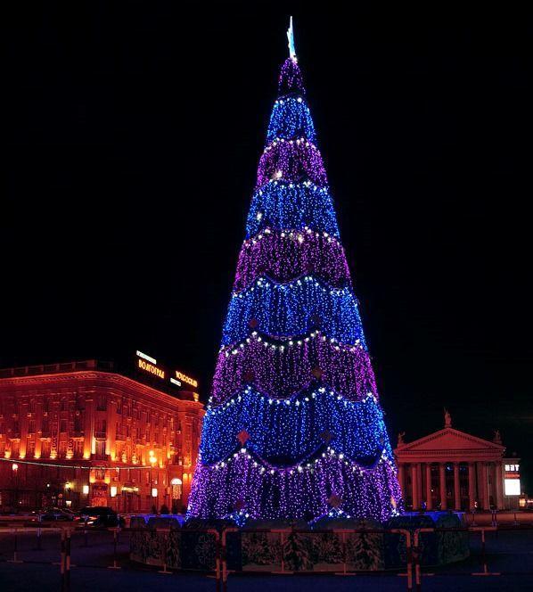На главной площади Волгограда зажглась новогодняя елка