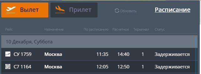 Из-за метеоусловий аэропорт Волгограда сообщает о задержке рейсов