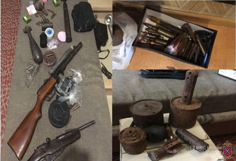 Волгоградец собрал арсенал оружия и боеприпасов