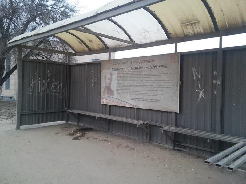 Волгоградка предложила горожанам своими силами отмыть грязные плакаты поэтов на остановках