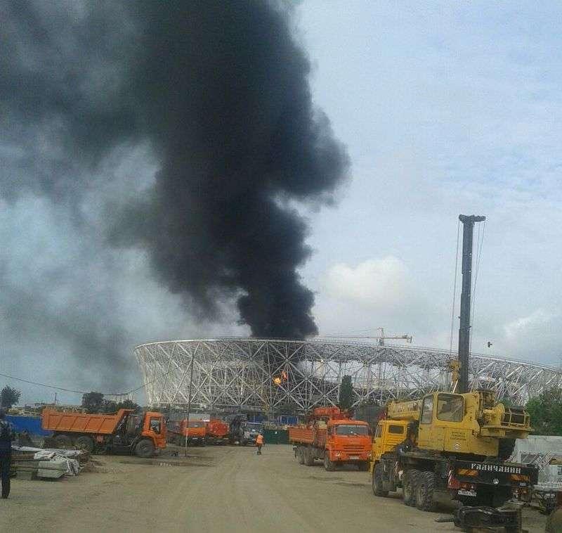"На строящемся стадионе ""Волгоград Арена"" произошел пожар"