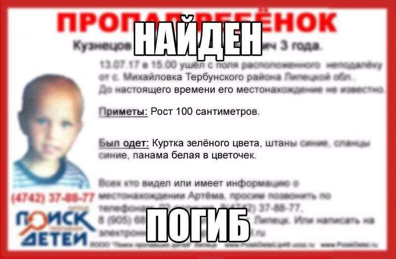 В Липецкой области завершены поиски 3-летнего ребенка