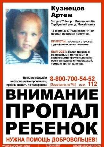 В Липецкой области бесследно исчез трехлетний ребенок