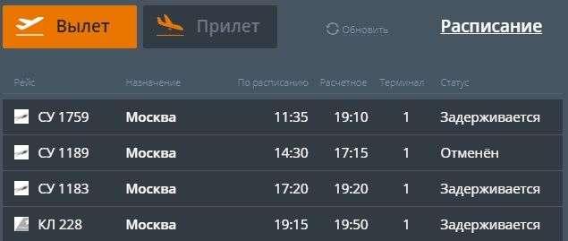 В Волгограде отменили московские авиарейсы
