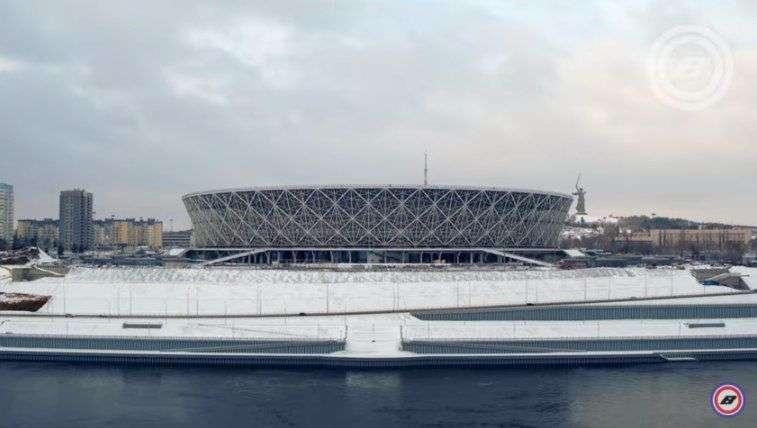 Квадрокоптером сняли запорошенный снегом стадион «Волгоград Арена»