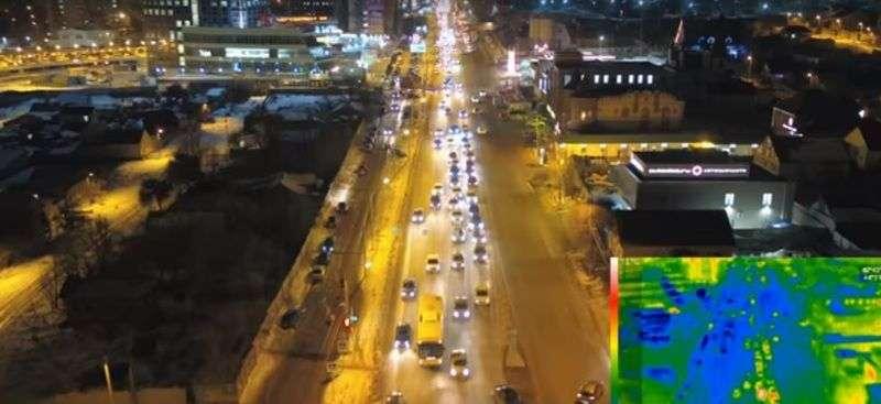Ночной Волгоград сняли на камеру тепловизора