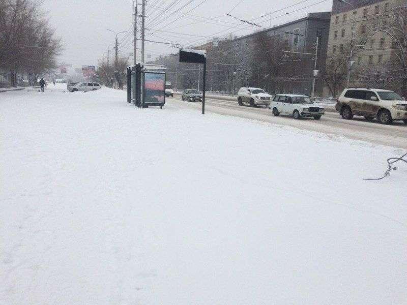 Волгоград засыпало мартовским снегом