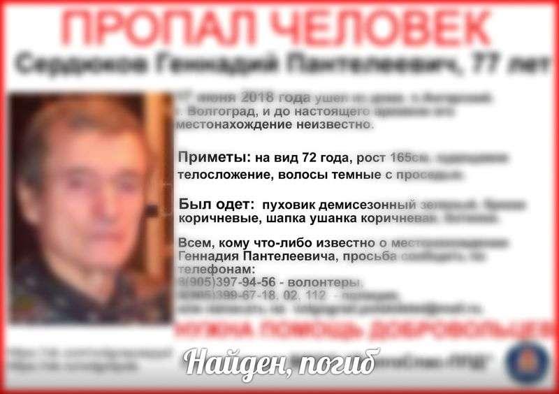 В Волгограде завершены поиски пропавшего месяц назад мужчины в шапке-ушанке