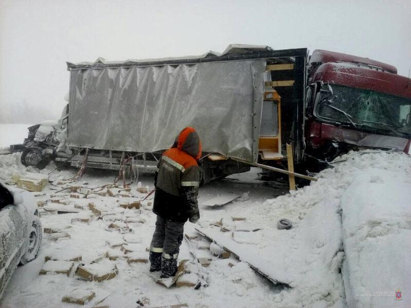 В Камышинском районе в непогоду произошли две аварии с грузовиками