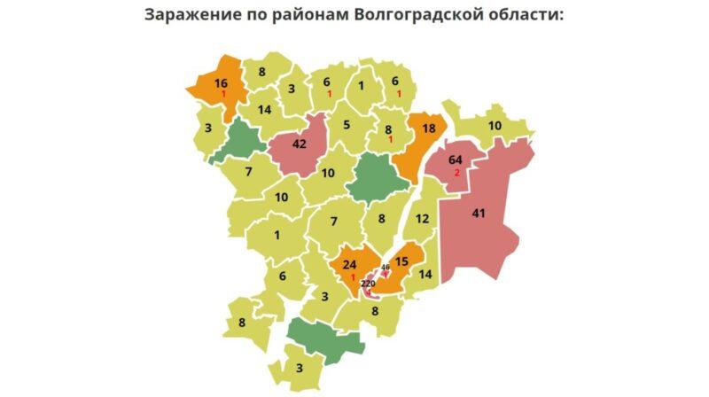 В Волгограде 220, Волжском — 46, в районах — 381: обновлена карта коронавируса в регионе
