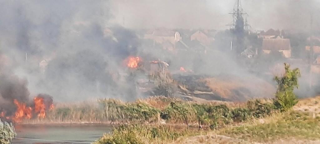 В Кировском районе горят камыши возле дачных участков