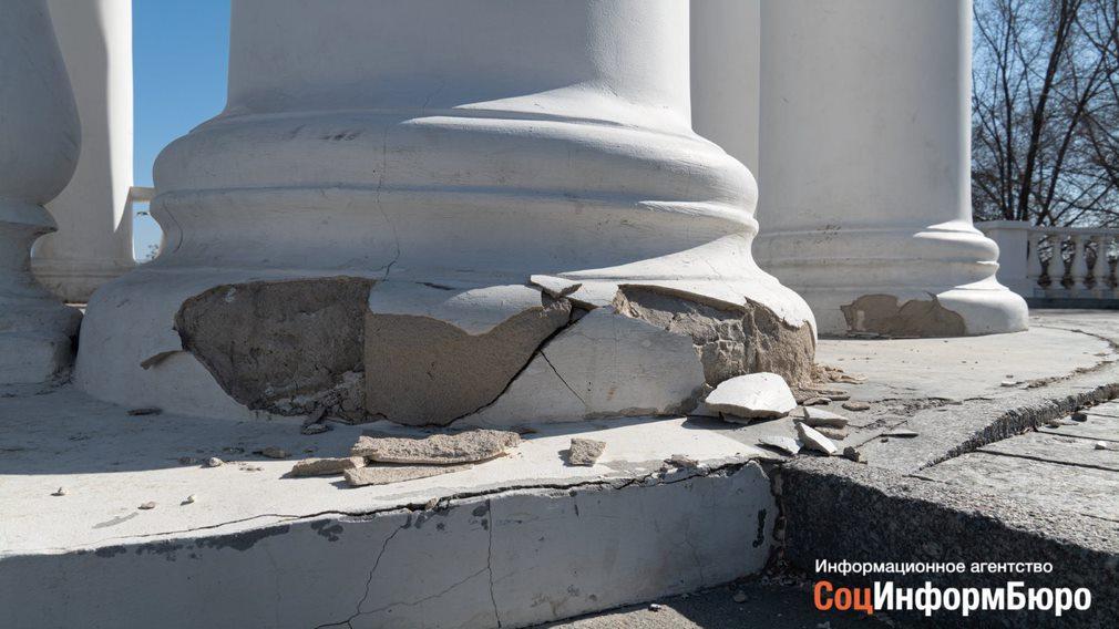 АО «Приволжтрансстрой» восстановит ротонду на набережной Волгограда, когда позволит погода