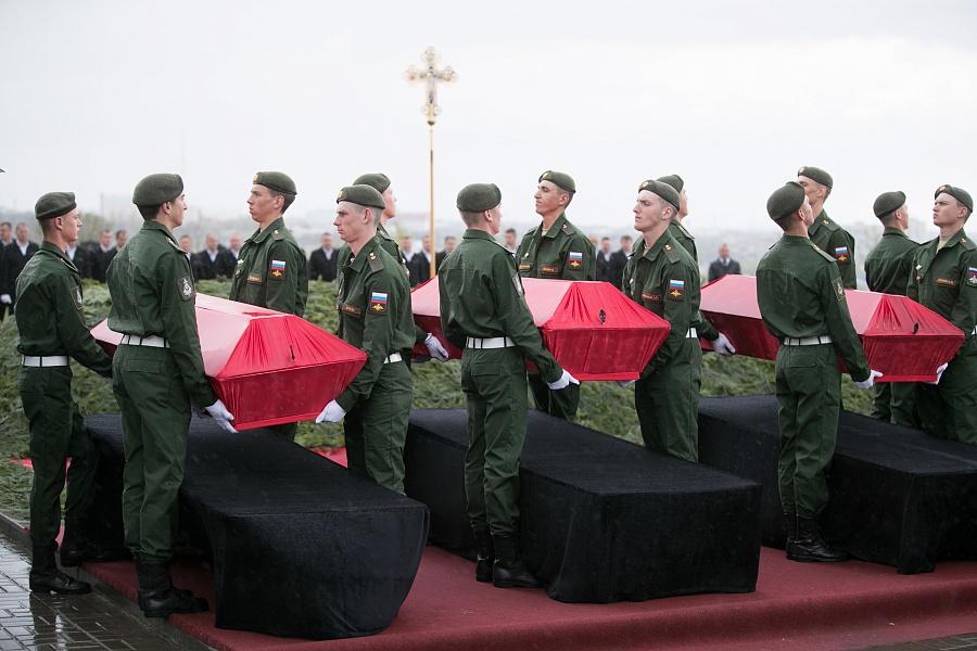 На Мамаевом кургане захоронили останки 37 защитников Сталинграда