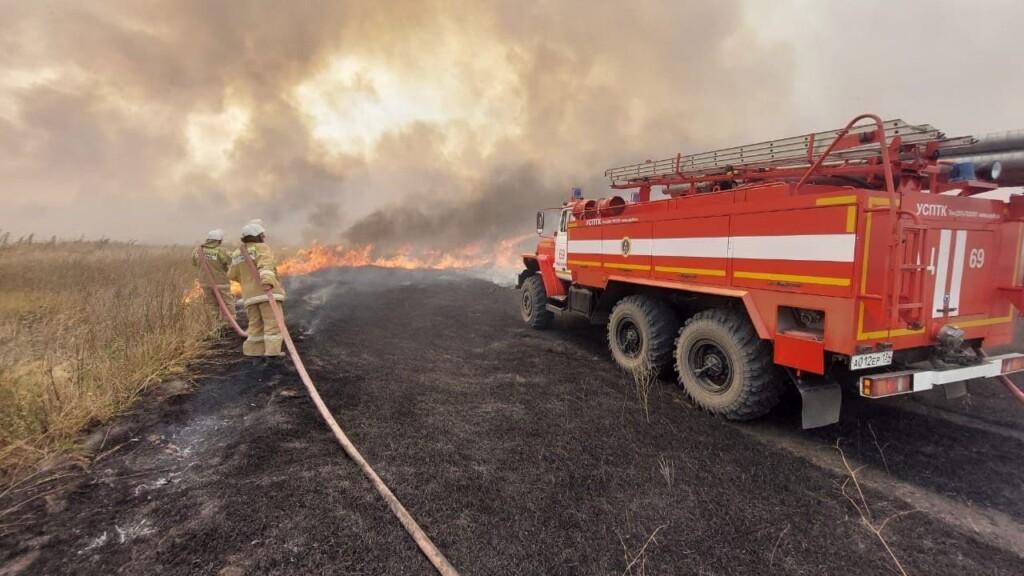 В Волгоградской области до позднего вечера тушили 20 гектаров загоревшейся травы